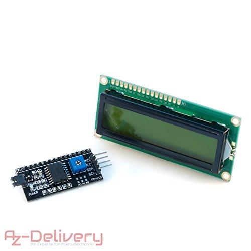 AZDelivery ⭐⭐⭐⭐⭐ HD44780 1602 LCD Modul Display Bundle mit I2C Schnittstelle 2x16 Zeichen mit Gratis eBook! (mit grünem Hintergrund)