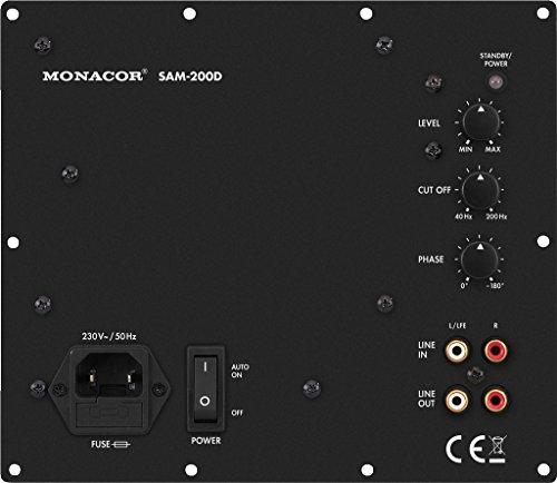 MONACOR SAM-200D Subwoofer Aktiv-Modul mit 200 W und variablem Tiefpass, Tieftöner mit stufenlos regelbarem Phasenschieber, integrierter Bassanhebung und hohen Leistungsreserven, in Schwarz
