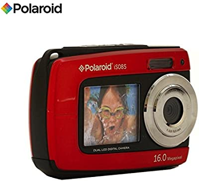 Bajo el agua impermeable cámara digital Polaroid iS08516Mega Pixeles con 2pantallas (Rojo)