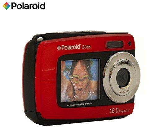 Subacquea macchina fotografica digitale impermeabile Polaroid IS085 da 16 megapixel con 2 schermi (Rosso)