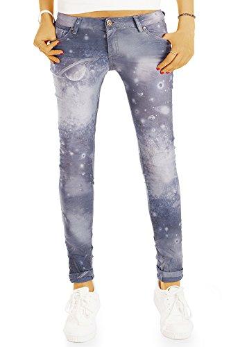 bestyledberlin Damen Röhrenjeans, Skinny Fit Galaxy Print Jeans, Hüftjeans j84i 38/M