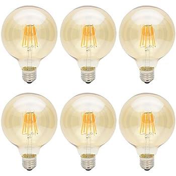 6X E27 Bombillas Edison Retro G95 Bombilla Vintage 6W LED Retro Blanco Cálido 500LM Sustitución del Incandescente 60W Bombilla Filamento LED AC85-265V
