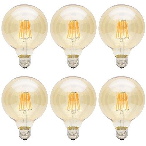 6x E27 G95 6W Glühbirne LED Edison Lampe Vintage Retro Stil Filament Birne,Ersatz 50W,300 Lumen, 2300K Warm Licht ,mit Artikel Braunglas,360°Abstrahlwinkel,AC 220V