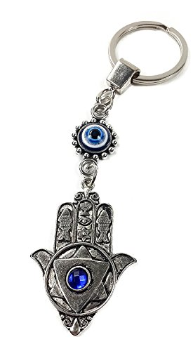 Nazareth Store Silver Evil Eye Keychain Hamsa Hand Protection Charm Key Chain Good Luck Amulet Israel