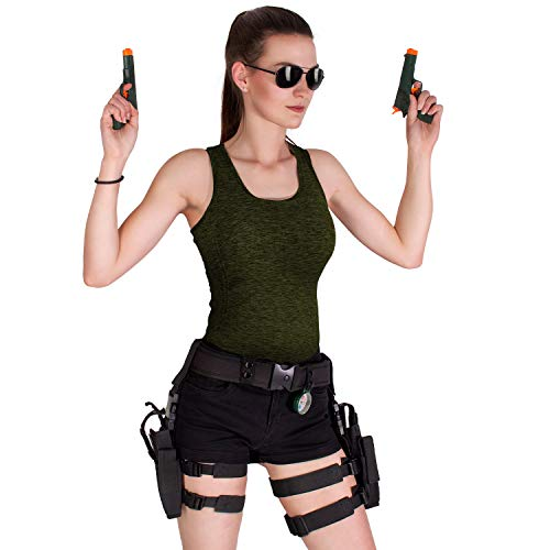Black Snake® Damen Lara Croft Kostüm | Gürtel, rechtes + linkes Beinholster, 2 Pistolen, Kompass - Schwarz - OneSize