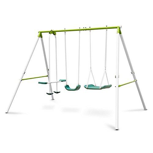 Oneconcept Olav • Columpio de jardín Infantil • Exteriores • hasta 4 niños de 3 a 8 años • Peso máx. 120 kg • Balancín con Asiento y reposapiés • Acero • Asientos plástico • Verde Claro