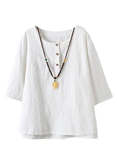 Vogstyle Damen Baumwoll Leinen Tunika T-Shirt Jacquard Oberseiten, Weiß, L