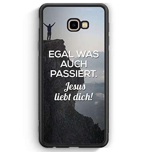 Egal was auch passiert - Jesus liebt Dich - Silikon Hülle für Samsung Galaxy J4+ Plus (2018) Cover - Motiv Design Christlich Religion Jesus Schön - H