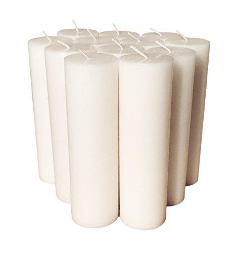 Candele a colonna collumino tinta unita dimensioni 15x 4.3cm (15,2cm), white, 12 pezzi