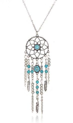 Hosaire Collare de Plata Moda Mujer de Estilo Étnico Bohemio Borlas de Plumas Retro Largo Cadena Encantos Suéter Collar Accesorios de la Joyería