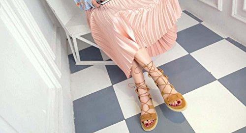 NobS Cinghie Piatte Scarpe Romani Donne Grandi Sandali Il Formato 40-47 Yellow