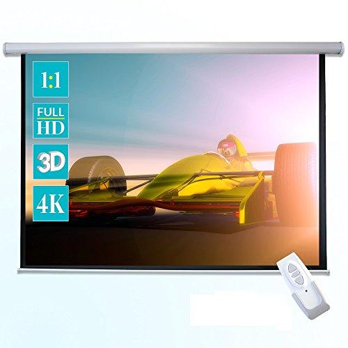 ivolum Motorleinwand - 200 x 200cm - 1:1 - elektrische Heimkino- oder Business-Leinwand - inkl. Fernbedienung und Montagematerial - einfache Montage (Leinwand Beamer Motor)