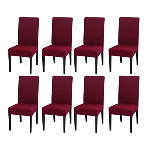 MAIAMY Einfarbig Stuhlabdeckung Satz von 8pc Spandex elastische Stuhlhussen Schonbezüge für Hochzeitsbankett Hotel Party