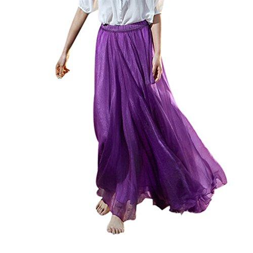 Frauenkleidung JYJM Kleid für Frauen plus Größe Mode lässigFrauen-elastisches Taillen-Chiffon- langes Maxi-Strand-Kleid Chiffon Strandrock Puff Tanz Rock Prinzessin Kleid (Freie Größe, Lila) (Lange Tanz-rock)