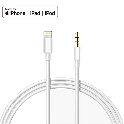 Auto AUX Kabel für iphone - iPhone an Aux-Kabel Premium Lautsprecher Adapter Lightning auf 3,5mm Audio Kabel kompatibel für iPad, iPod, iPhone8/8+/X, Home/Auto(Weiß) Apple-auto-adapter