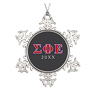 Sigma Phi Epsilon Purple and Red Letters Ceramic Round Christmas Ornament