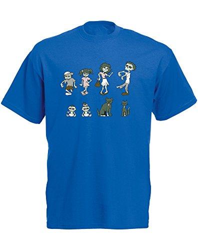 Zombie Family, Mann Gedruckt T-Shirt - Königsblau/Transfer 2XL = 119-124cm