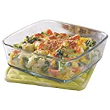 Borosil Square Glass Dish without Handle, 1.6 L (Transparent)