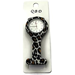 QBD Clip Series-Nurses Glowing Hands Red Cross Patterned Silicon Rubber Fob Watch - Black Leo