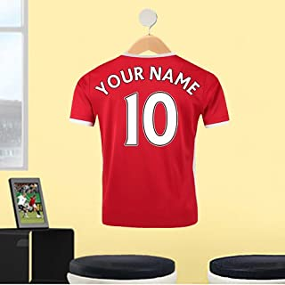 RED WHITE TRIM FOOTBALL SHIRT YOUR NAME & NUMBER CUSTOM PRINTED FOOTBALL SHIRT ON HANGER WALL STICKER