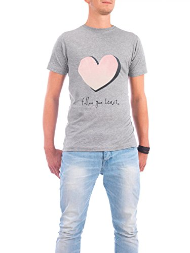 "Design T-Shirt Männer Continental Cotton ""follow your heart"" - stylisches Shirt Typografie von m.belle Grau"