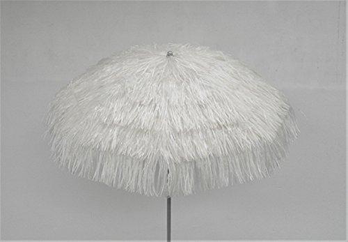 Maffei Art 6 Kenya, runder Sonnenschirm D.cm 200, mit Bast. Made in Italy. Farbe Weiß