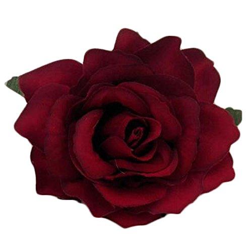 2PCS dames élégants fleur rose pin pin cheveux clip décoration, Rouge sombre