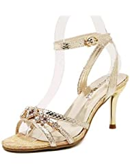 Ei&iLI Zapatos de mujer-Tacón Stiletto-Tacones-Sandalias-Fiesta y Noche-Semicuero-Plata / Oro , golden , us8 / eu39 / uk6 / cn39