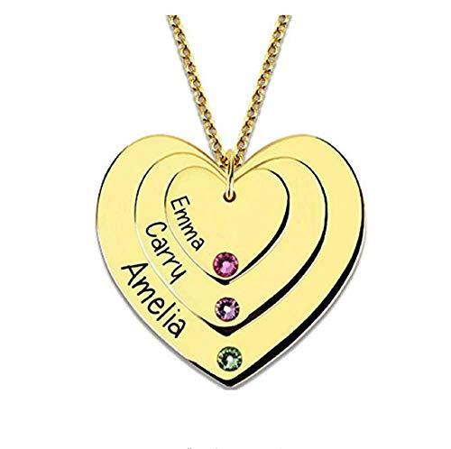 te Herz Halskette Sterling Silber Gravierte 3 Namen Mit Birthstones für Frauen Muttertagsgeschenk Custome Für Mutter ()