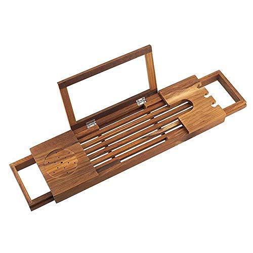 Laptop-schreibtisch-caddy (Fishroll Faltbarer Laptop-Schreibtisch, Regale Holz Badewanne Caddy Tablett, Bad und Bett Tablett, Adjus Bad, Getränkehalter, (Natürliche Bambus Farbe) 51 * 16 * 5cm)