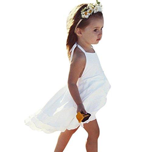 eidung Longra Baby Kinder Mädchen festes ärmellos Falten Prinzessin Kleid (0-6Jahre) (90CM 12Monate, White) (Kinder-party-stadt)