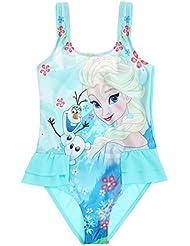 Maillot de bain 1 pièce enfant fille La reine des neiges Elsa et Olaf Bleu 4 à 10ans