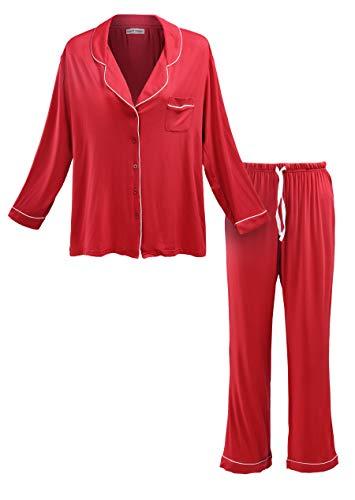 Matt Viggo Damen Zweiteiliger Schlafanzug Langarm Hausanzug Klassische Kragen Lange Pyjama V-Ausschnitt mit Knopfleiste (Rot, XL (42))