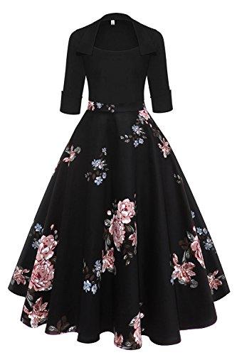 Axoe Damen Elegante 50er Jahre Vintage Kleid Rockabilly mit Ärmel Schwarz Grosse Grössen 48