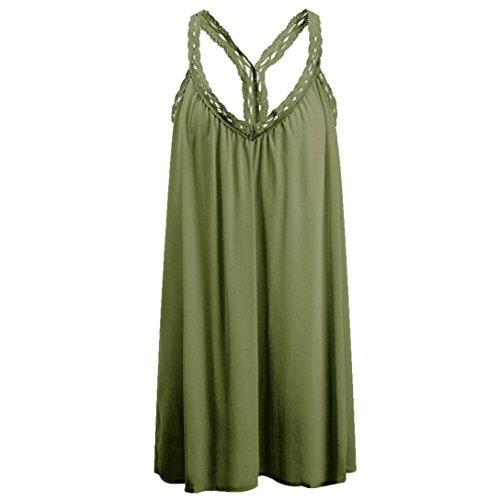 KanLin Damen V-Ausschnitt solid Ärmelloses Lace Beach Mini Kleid Grün