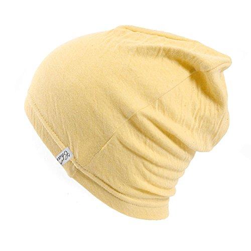 Casualbox Femme fait au Japon chaud tricoter bonnet chapeau bio Jaune