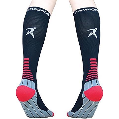 Calcetines de compresión (acolchada, compresión graduada, unisex para hombres y mujeres) by rymora Deportes, color Black (One Pair), tamaño