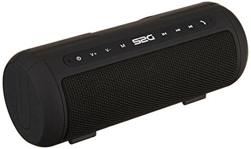 S2G TUBE von SOUND2GO -  2 x 5 Watt Stereo-Bluetooth-Lautsprecher mit Radiofunktion, Freisprecheinrichtung, Micro-SD Slot und USB-Player – schwarz/weiß