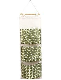 3 bolsillos de lino de algodón de colgar el bolso de bolsillo - Meedot Armario Puerta