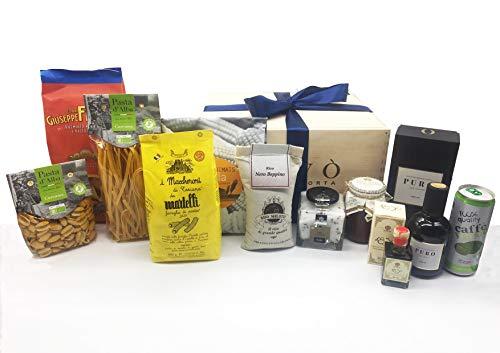 Gourmood eccellenze enogastronomiche 100% made in italy deluxe cesto regalo enogastronomico qualità ed eccellenza confezione legno serigrafato con fiocco prodotti selezionati bio gluten free