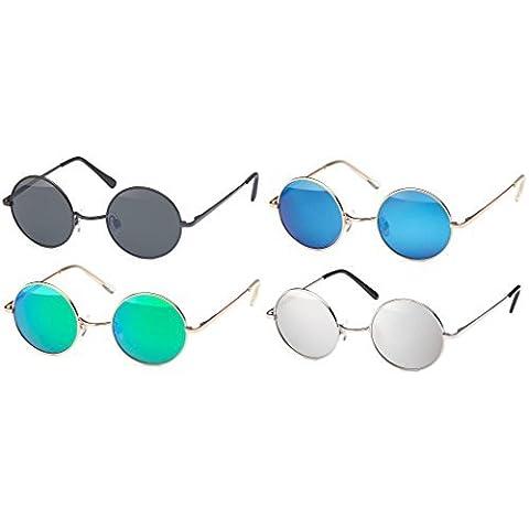 Gafas de sol con redondas gafas y estrecho Metal Marco, Aro con Bisagra de muelle