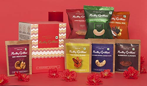 Nutty Gritties On The Go Box Rakhi Dry Fruits Gift Box Set, 7 Unique Flavors, 161g (Vegan, Gluten Free, Oil...