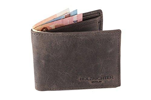 HOLZRICHTER Berlin Premium Geldbörse aus Leder (M) - Handgefertigtes Portemonnaie für Herren Quer - dunkel-braun - Wildleder Portemonnaie