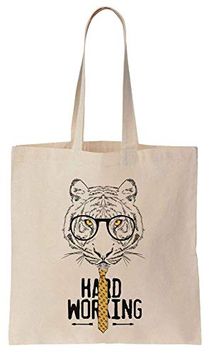 (Hard Working Tiger With Glasses And A Tie Cotton Canvas Tote Bag)