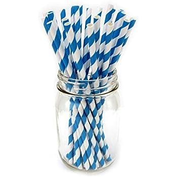 Pailles rayees en papier pour la fete bleu et blanc R SODIAL