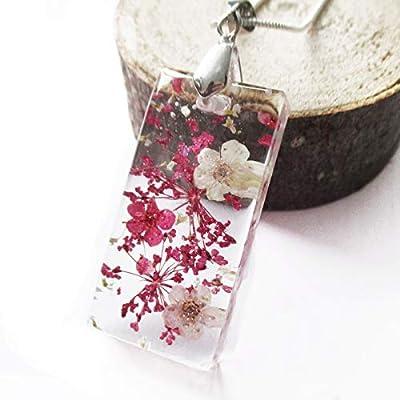 Pendentif Mila rectangle en résine transparente et fleurs pressées - Bijou nature Collier en fleurs séchées colorées
