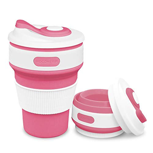 ROCONTRIP Faltbare Tasse, Silikon Becher Kaffee Camping Tasse Reise Geschenk Becher 350ml 100% Lebensmittelqualität Silikon BPA-frei geeignet für Outdoor-Aktivitäten Camping Wandern (Rose rot) Rote Rose Becher