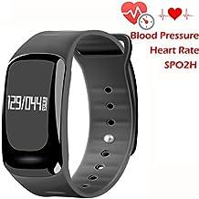 Presión arterial pulsera Fitness Tracker-homestec S4reloj inteligente con spo2h Heart Rate Monitor Podómetro de gestión de dormir con OLED Pantalla táctil para Android IOS Smartphones, 0.04 pounds, color negro