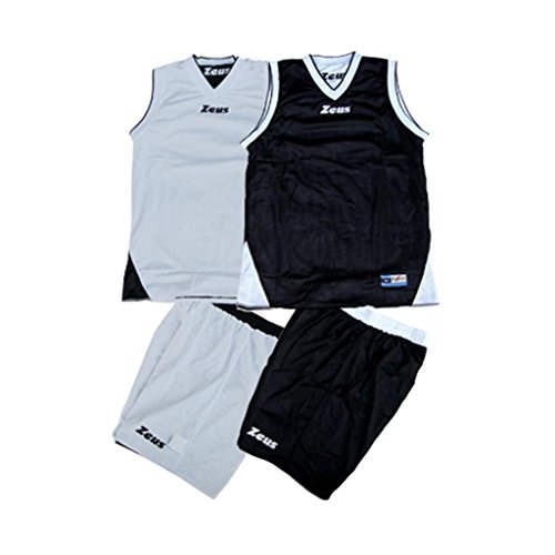 Zeus Herren Kinder Basketball Basket Set Trikot Shirt Shorts Hosen Material Reversibel KIT DOBLÒ WEISS-SCHWARZ/SCHWARZ-WEISS (XS)