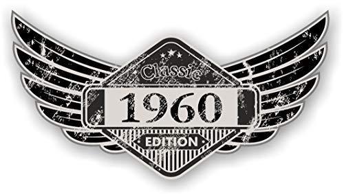 Distressed Aged Geflügelte Klassisches Edition Wappen Year Vom 1960 Vintage Retro Cafe Racer Design Externe Vinyl Auto Motorrad Aufkleber 125x67mm